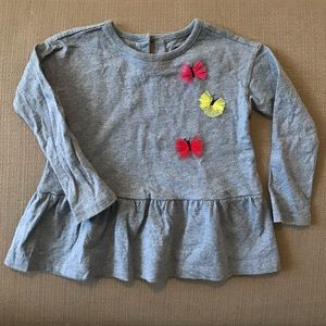 Tea Collection peplum top with butterflies - 2T